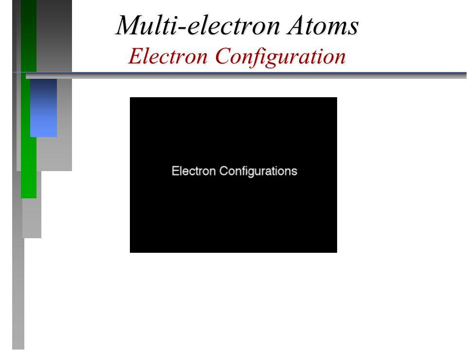 Multi-electron Atoms Electron Configuration