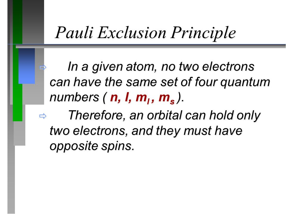 Pauli Exclusion Principle  In a given atom, no two electrons can have the same set of four quantum numbers ( n, l, m l, m s ).  Therefore, an orbita