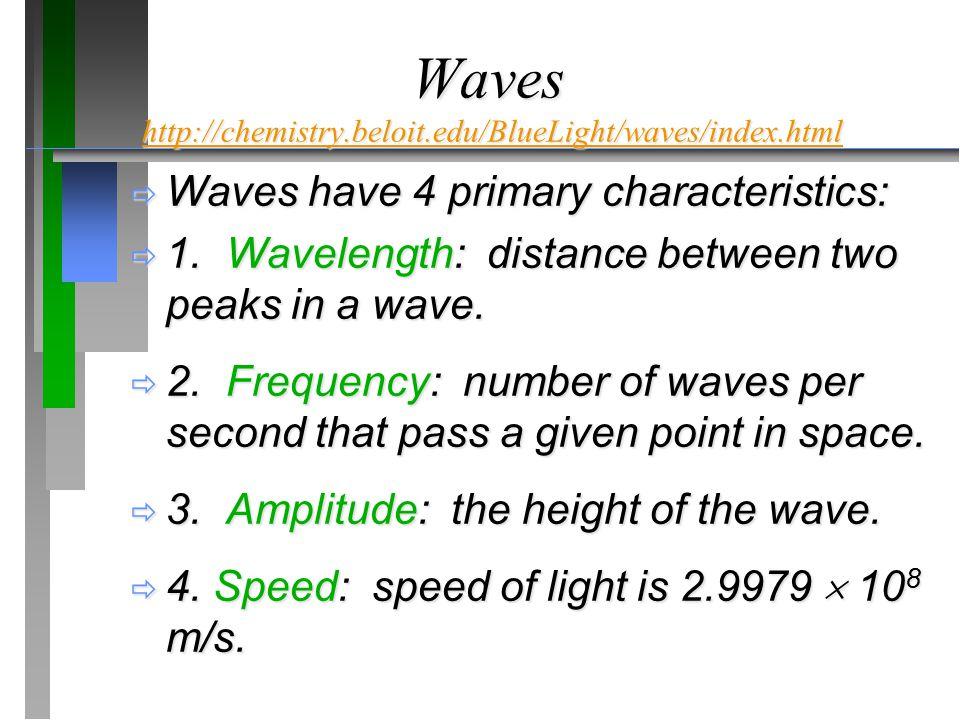Waves http://chemistry.beloit.edu/BlueLight/waves/index.html http://chemistry.beloit.edu/BlueLight/waves/index.html  Waves have 4 primary characteristics:  1.Wavelength: distance between two peaks in a wave.