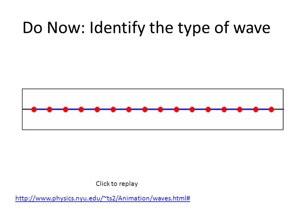 Do Now: Identify the type of wave Click to replay http://www.physics.nyu.edu/~ts2/Animation/waves.html#