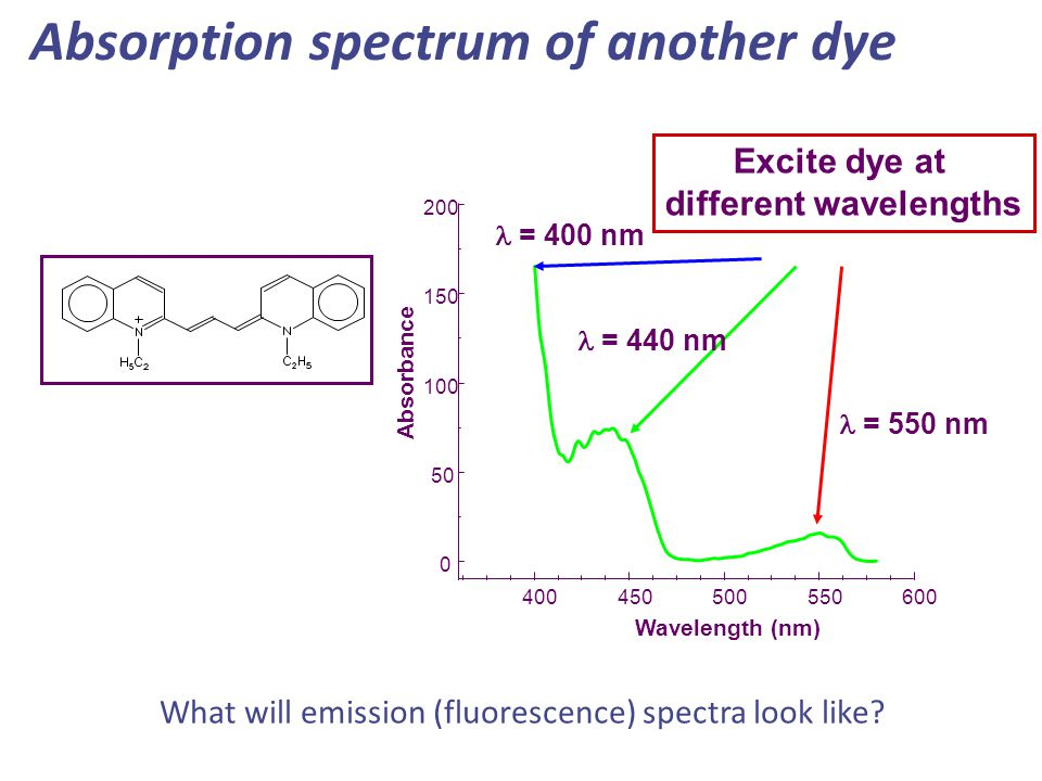 Absorption spectrum of another dye Excite dye at different wavelengths 400450500550600 0 50 100 150 200 Absorbance Wavelength (nm) = 550 nm = 440 nm =