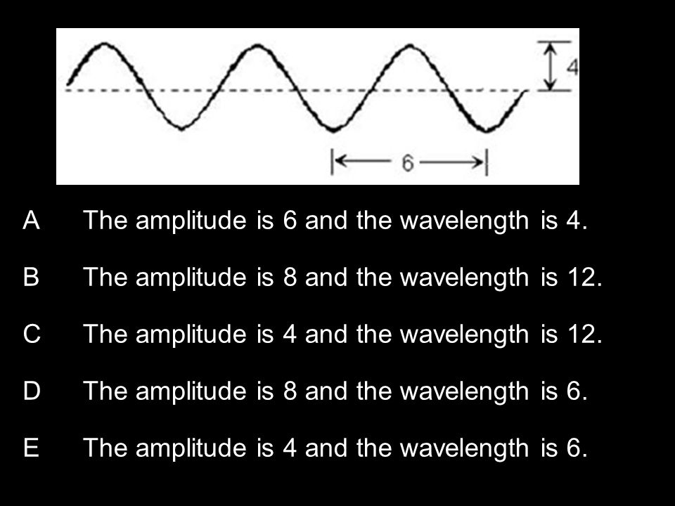 Copyright © 2010 Pearson Education, Inc. AThe amplitude is 6 and the wavelength is 4.