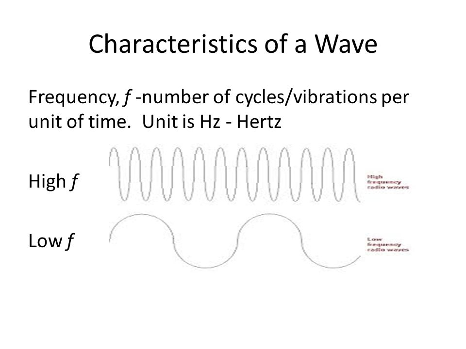 Characteristics of a Wave Frequency, f -number of cycles/vibrations per unit of time.