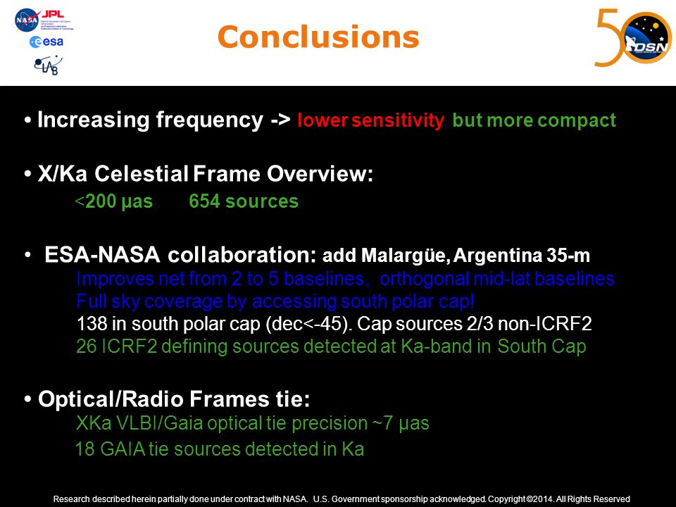 Conclusions Increasing frequency -> lower sensitivity, but more compact X/Ka Celestial Frame Overview: <200 µas 654 sources ESA-NASA collaboration: ad
