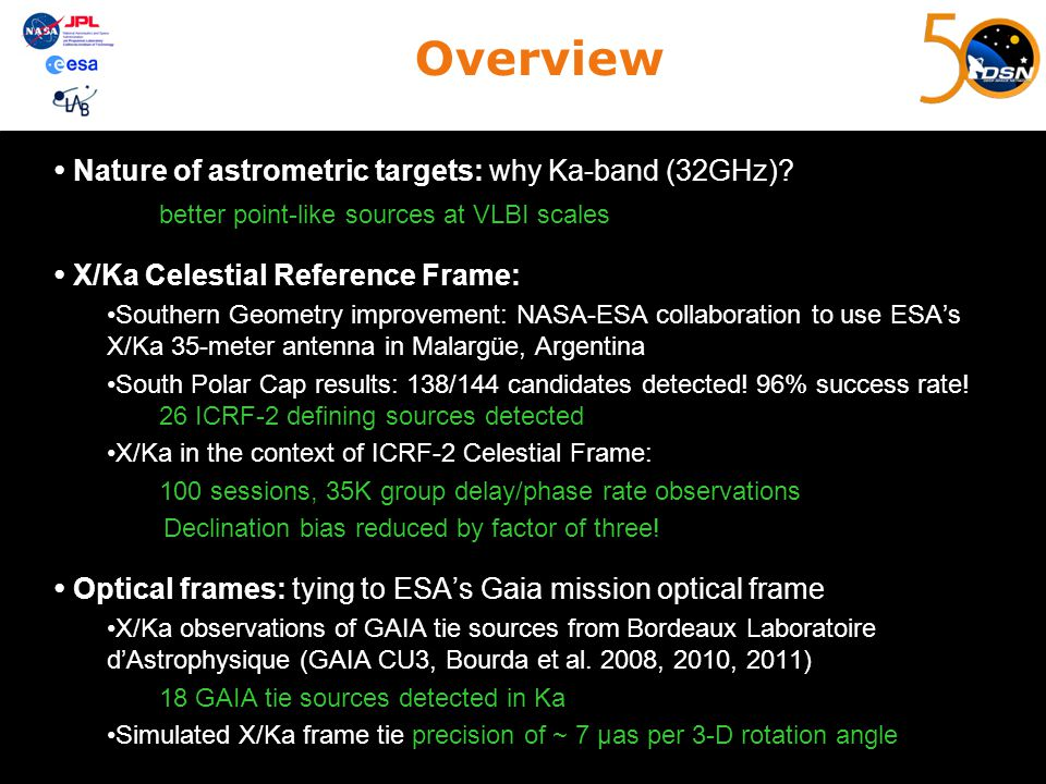 Overview Nature of astrometric targets: why Ka-band (32GHz)? better point-like sources at VLBI scales X/Ka Celestial Reference Frame: Southern Geometr