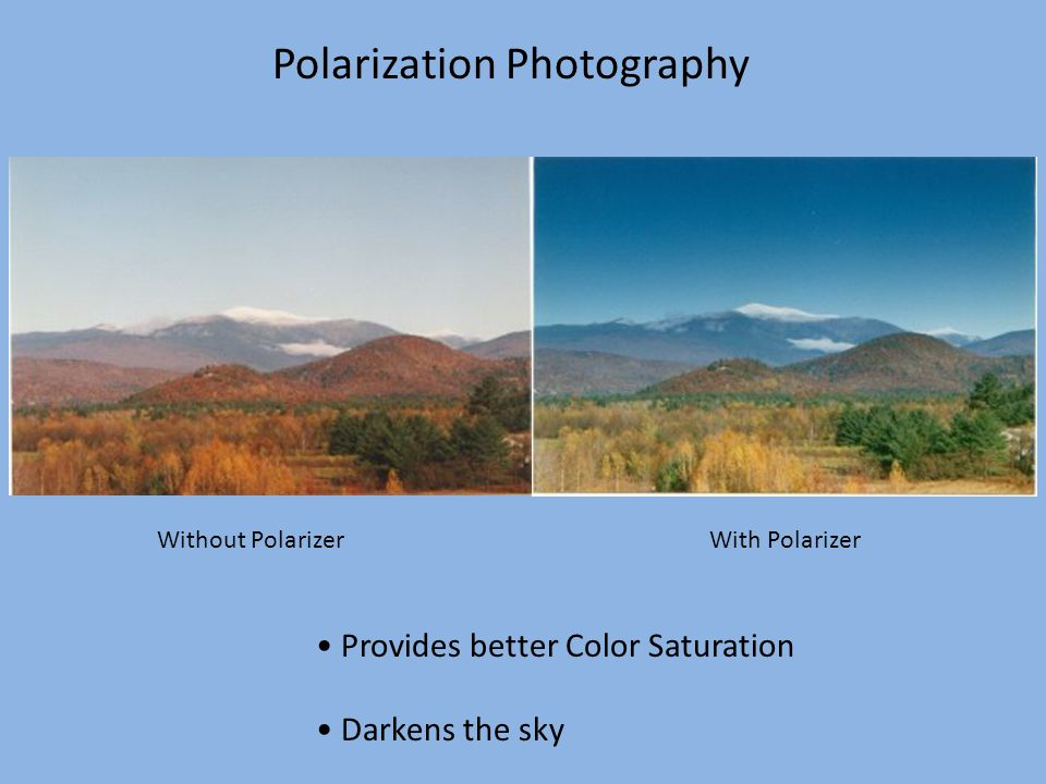 Polarization Photography Without Polarizer With Polarizer Provides better Color Saturation Darkens the sky