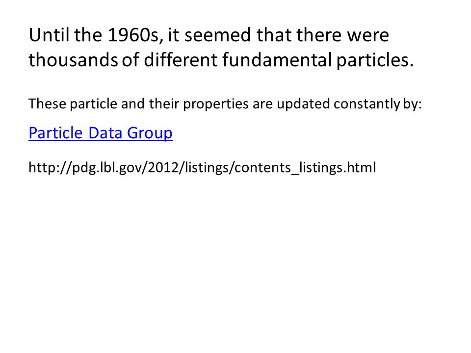 Until the 1960s, it seemed that there were thousands of different fundamental particles.
