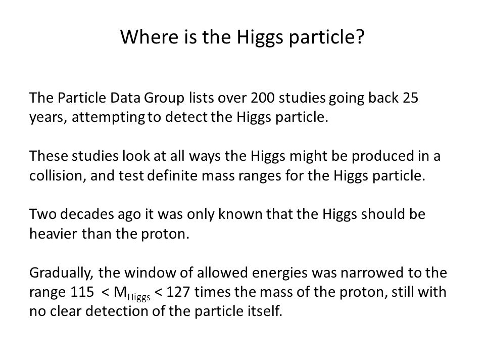 Where is the Higgs particle.