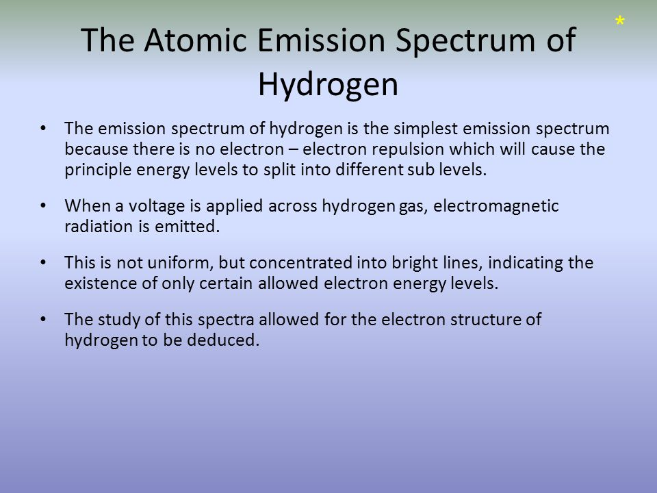 The Atomic Emission Spectrum of Hydrogen The emission spectrum of hydrogen is the simplest emission spectrum because there is no electron – electron repulsion which will cause the principle energy levels to split into different sub levels.
