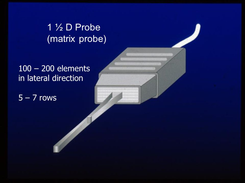 1 ½ D Probe (matrix probe) 100 – 200 elements in lateral direction 5 – 7 rows
