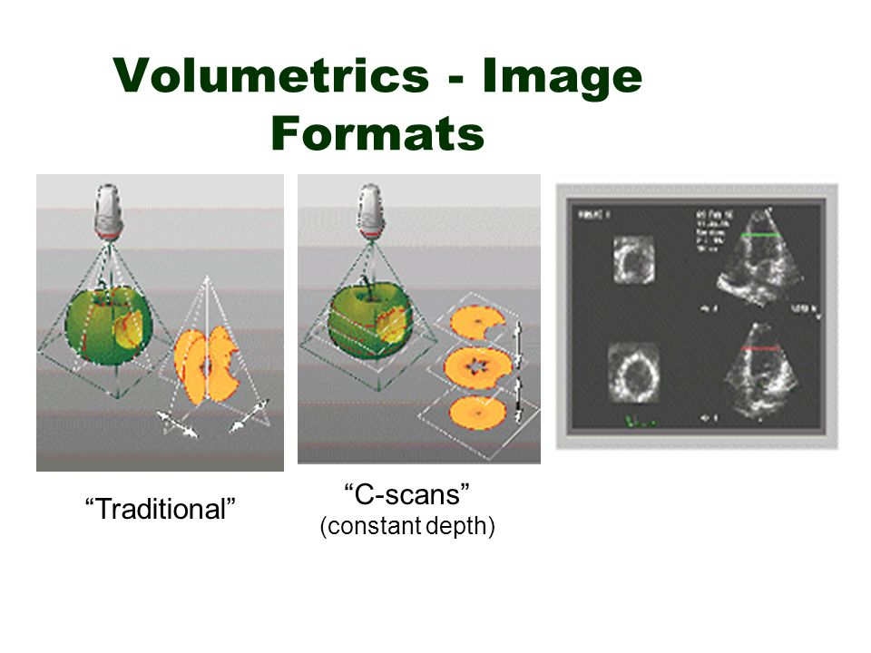 "Volumetrics - Image Formats ""Traditional"" ""C-scans"" (constant depth)"