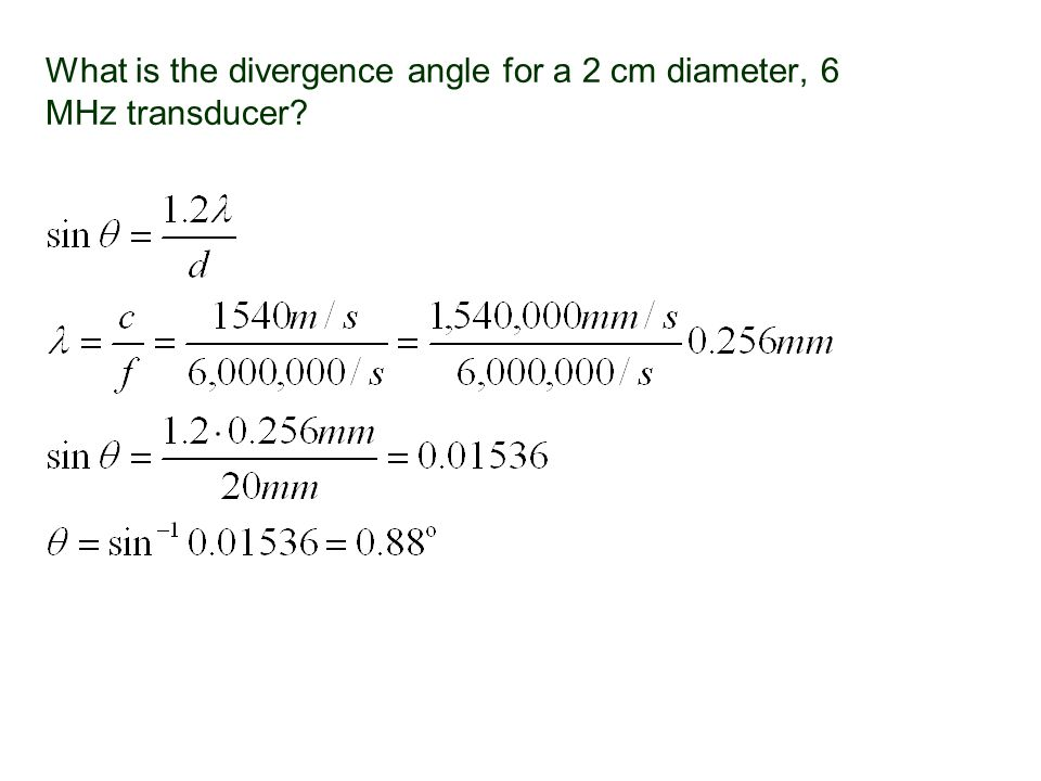 What is the divergence angle for a 2 cm diameter, 6 MHz transducer?