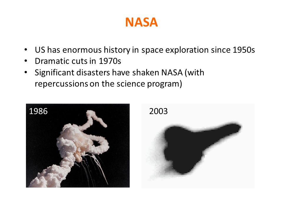 NASA US has enormous history in space exploration since 1950s Dramatic cuts in 1970s Significant disasters have shaken NASA (with repercussions on the science program) 19862003