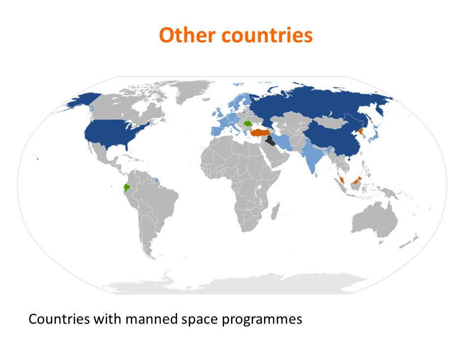 Other countries Countries with manned space programmes