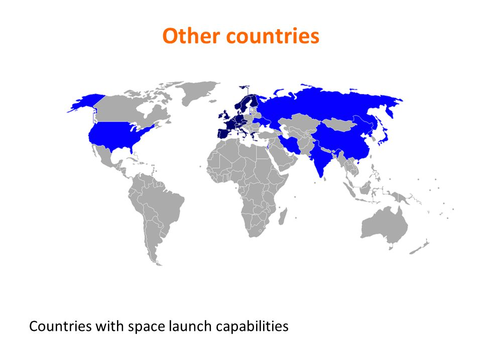 Other countries Countries with space launch capabilities