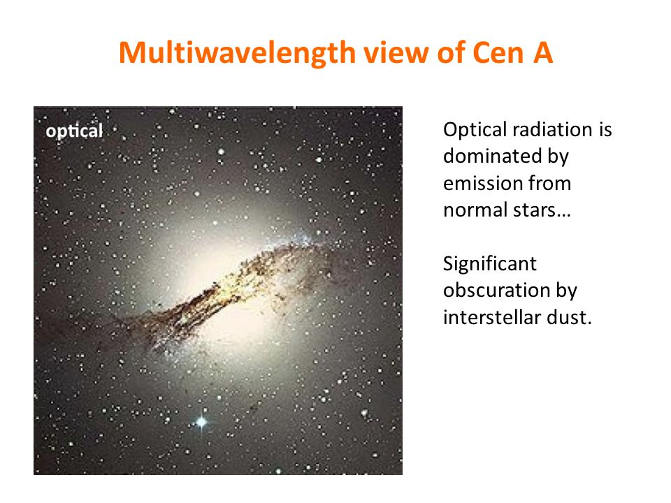 Multiwavelength view of Cen A Optical radiation is dominated by emission from normal stars… Significant obscuration by interstellar dust.