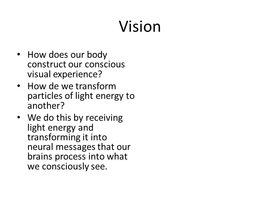 Vision How does our body construct our conscious visual experience.