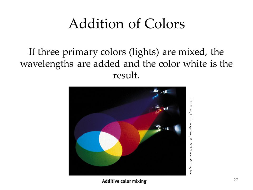 27 Addition of Colors If three primary colors (lights) are mixed, the wavelengths are added and the color white is the result. Fritz Goro, LIFE magazi