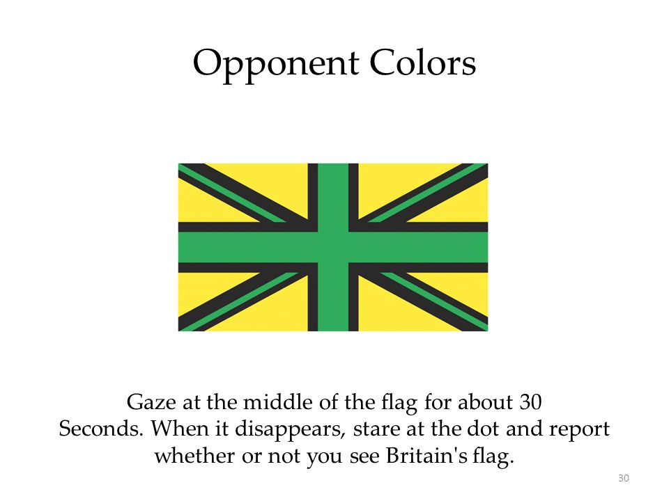 30 Opponent Colors Gaze at the middle of the flag for about 30 Seconds.