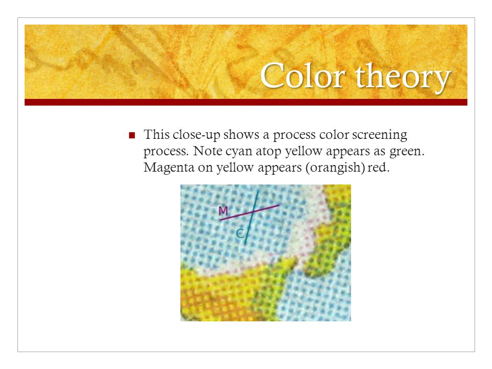 Color theory This close-up shows a process color screening process.