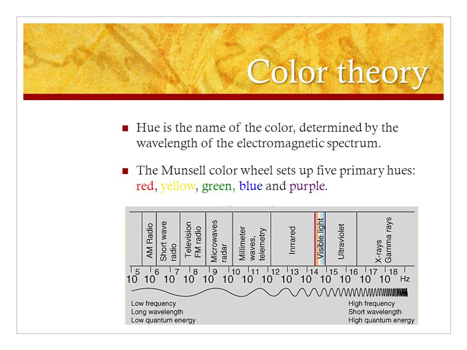Color theory Hue is the name of the color, determined by the wavelength of the electromagnetic spectrum.