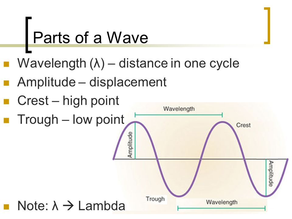 Parts of a Wave Wavelength (λ) – distance in one cycle Amplitude – displacement Crest – high point Trough – low point Note: λ  Lambda