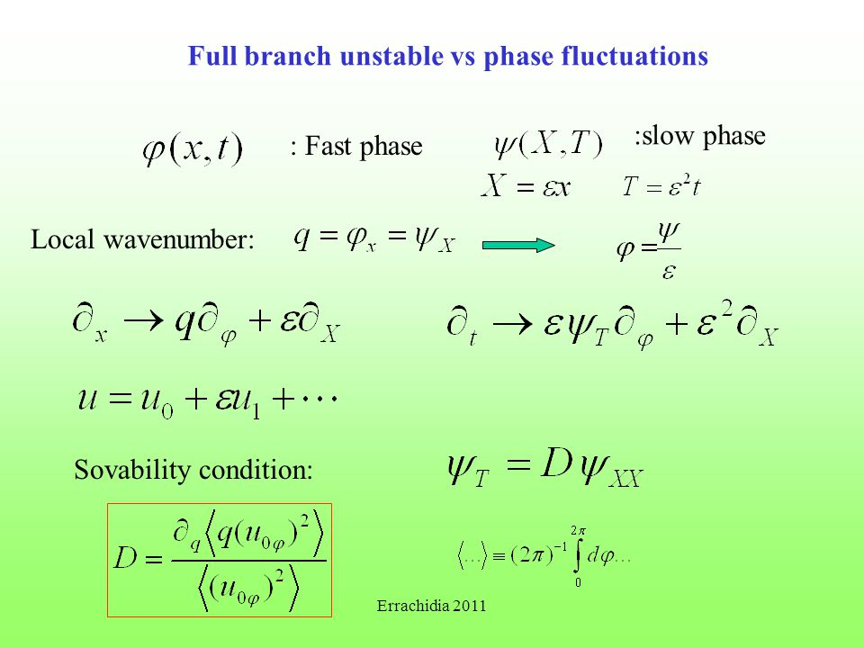 Full branch unstable vs phase fluctuations : Fast phase :slow phase Local wavenumber: Sovability condition: Errachidia 2011