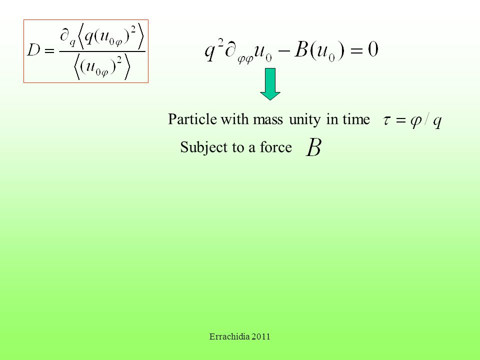 Particle with mass unity in time Subject to a force Errachidia 2011