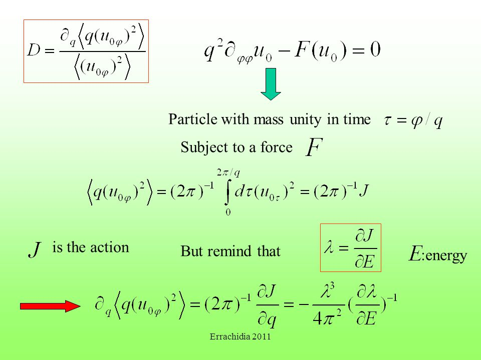 Particle with mass unity in time Subject to a force is the action But remind that :energy Errachidia 2011