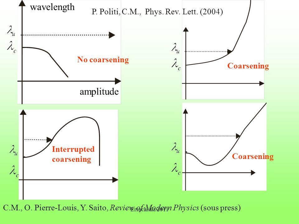 wavelength amplitude No coarsening Coarsening Interrupted coarsening C.M., O. Pierre-Louis, Y. Saito, Review of Modern Physics (sous press) P. Politi,