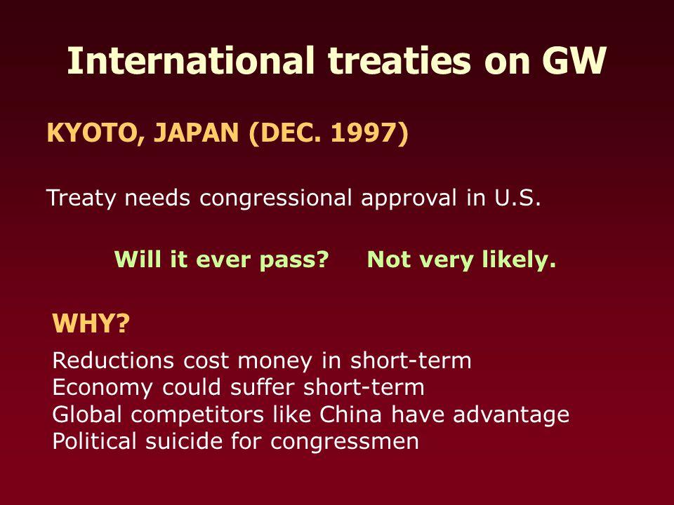 International treaties on GW KYOTO, JAPAN (DEC. 1997) Treaty needs congressional approval in U.S.