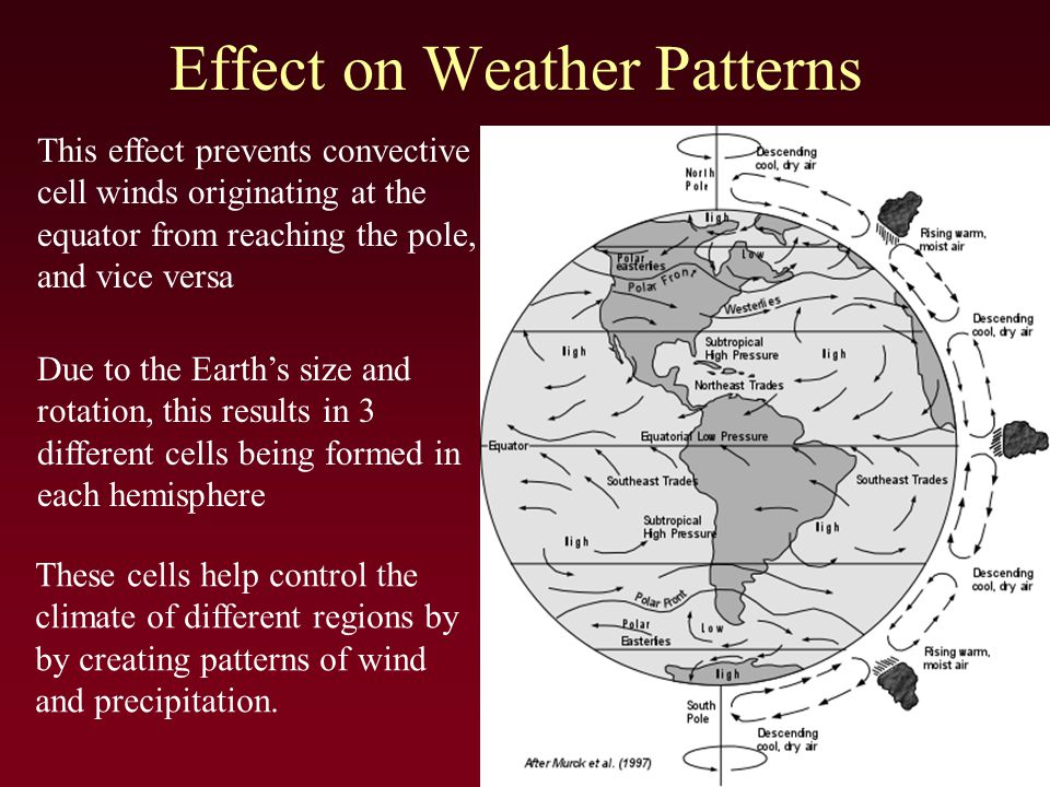 Effect on Weather Patterns This effect prevents convective cell winds originating at the equator from reaching the pole, and vice versa Due to the Earth's size and rotation, this results in 3 different cells being formed in each hemisphere These cells help control the climate of different regions by by creating patterns of wind and precipitation.