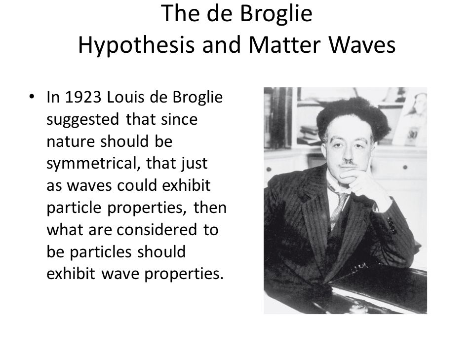 The de Broglie Hypothesis and Matter Waves In 1923 Louis de Broglie suggested that since nature should be symmetrical, that just as waves could exhibi