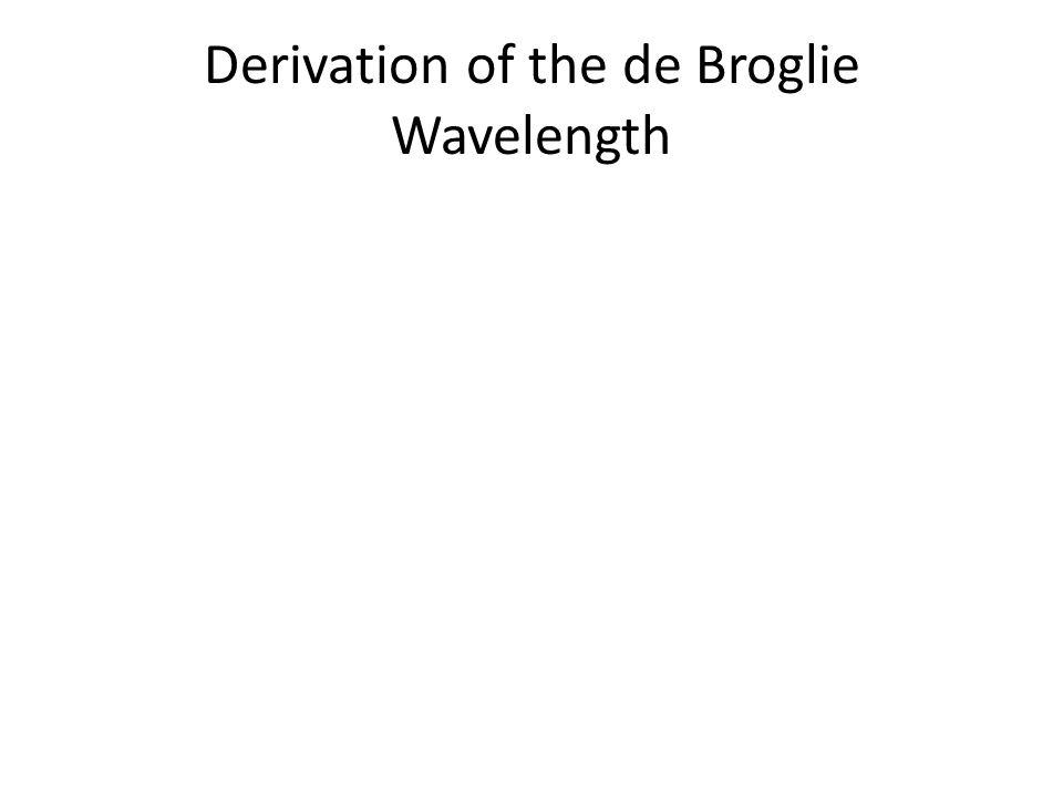 Derivation of the de Broglie Wavelength