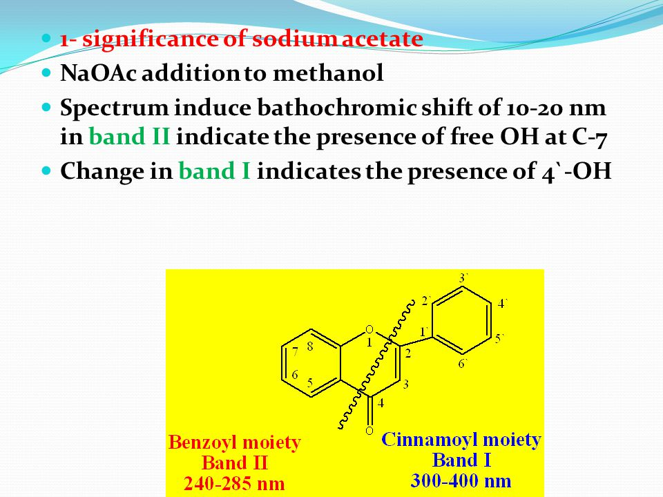 1- significance of sodium acetate NaOAc addition to methanol Spectrum induce bathochromic shift of 10-20 nm in band II indicate the presence of free O