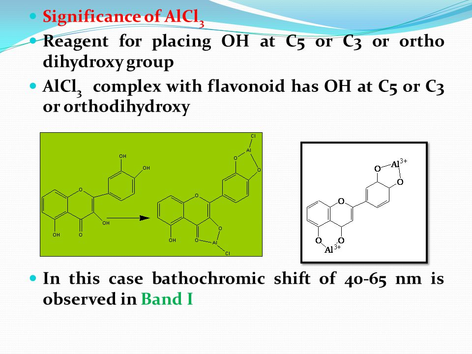 Significance of AlCl 3 Reagent for placing OH at C5 or C3 or ortho dihydroxy group AlCl 3 complex with flavonoid has OH at C5 or C3 or orthodihydroxy