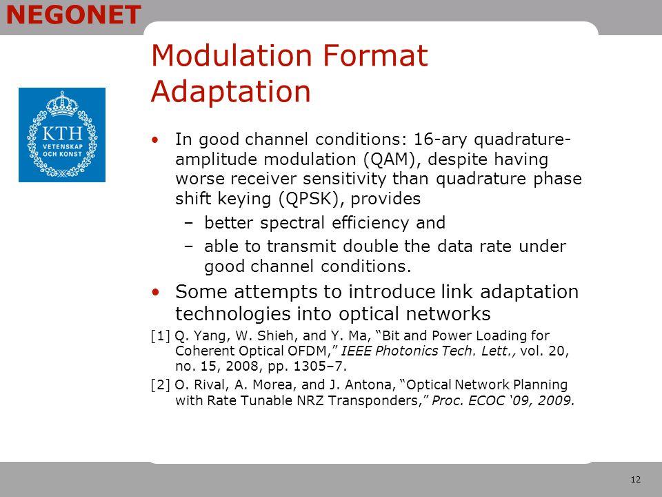12 NEGONET Modulation Format Adaptation In good channel conditions: 16-ary quadrature- amplitude modulation (QAM), despite having worse receiver sensi