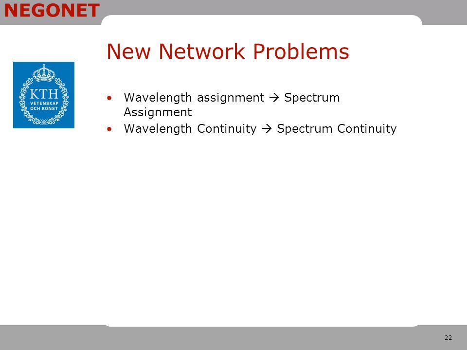 22 NEGONET New Network Problems Wavelength assignment  Spectrum Assignment Wavelength Continuity  Spectrum Continuity