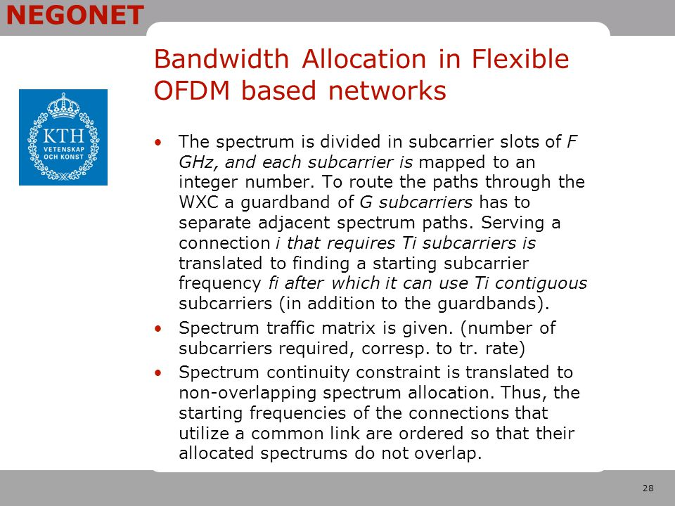 28 NEGONET Bandwidth Allocation in Flexible OFDM based networks The spectrum is divided in subcarrier slots of F GHz, and each subcarrier is mapped to