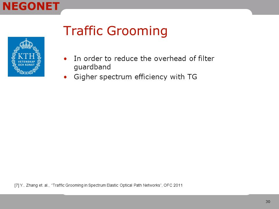 """30 NEGONET Traffic Grooming In order to reduce the overhead of filter guardband Gigher spectrum efficiency with TG [7] Y.. Zhang et. al., """"Traffic Gro"""