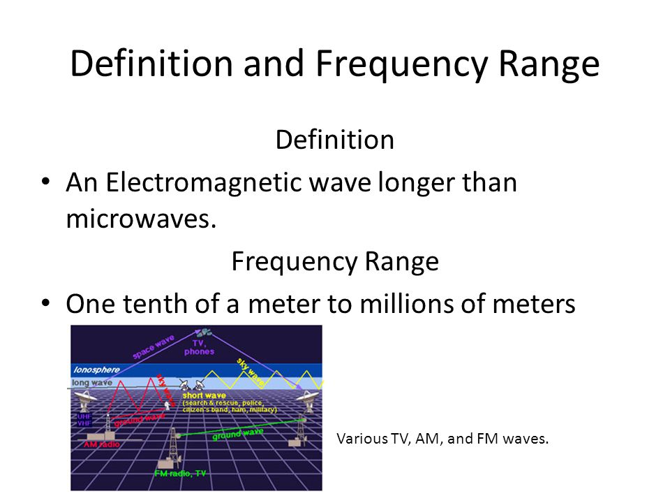 Definition and Frequency Range Definition An Electromagnetic wave longer than microwaves.