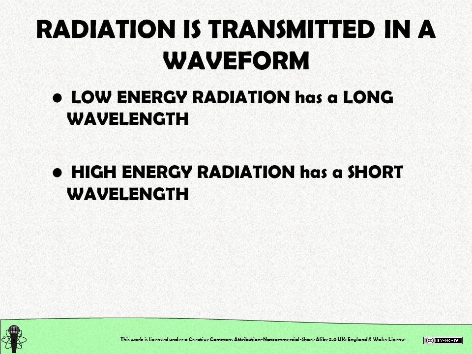 LOW ENERGY RADIATION has a LONG WAVELENGTH HIGH ENERGY RADIATION has a SHORT WAVELENGTH This work is licensed under a Creative Commons Attribution-Noncommercial-Share Alike 2.0 UK: England & Wales License RADIATION IS TRANSMITTED IN A WAVEFORM