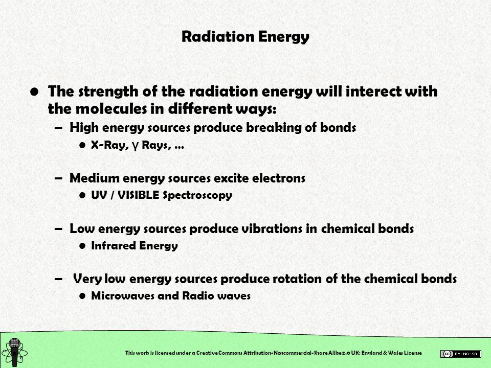 This work is licensed under a Creative Commons Attribution-Noncommercial-Share Alike 2.0 UK: England & Wales License Radiation Energy The strength of the radiation energy will interect with the molecules in different ways: –High energy sources produce breaking of bonds X-Ray, γ Rays, … –Medium energy sources excite electrons UV / VISIBLE Spectroscopy –Low energy sources produce vibrations in chemical bonds Infrared Energy – Very low energy sources produce rotation of the chemical bonds Microwaves and Radio waves