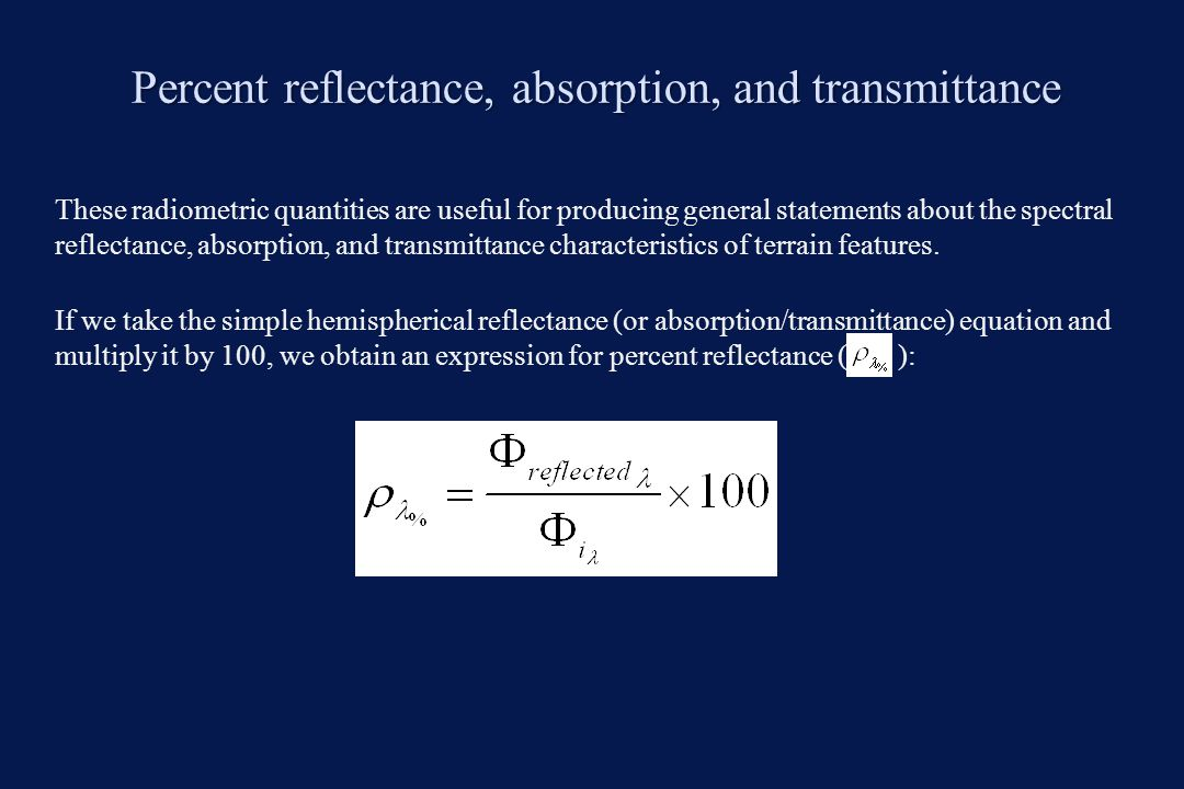 Spectral reflectance curves Spectral reflectance curve is a graph of the spectral reflectance of an object as a function of wavelength.