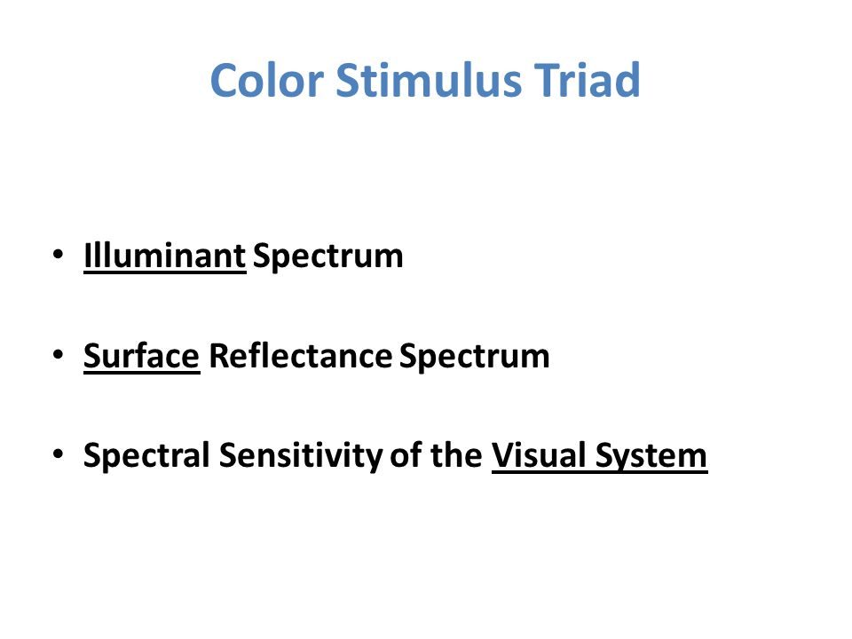 Visual Stimulus Spectrum = Illuminant x Surface Reflectance