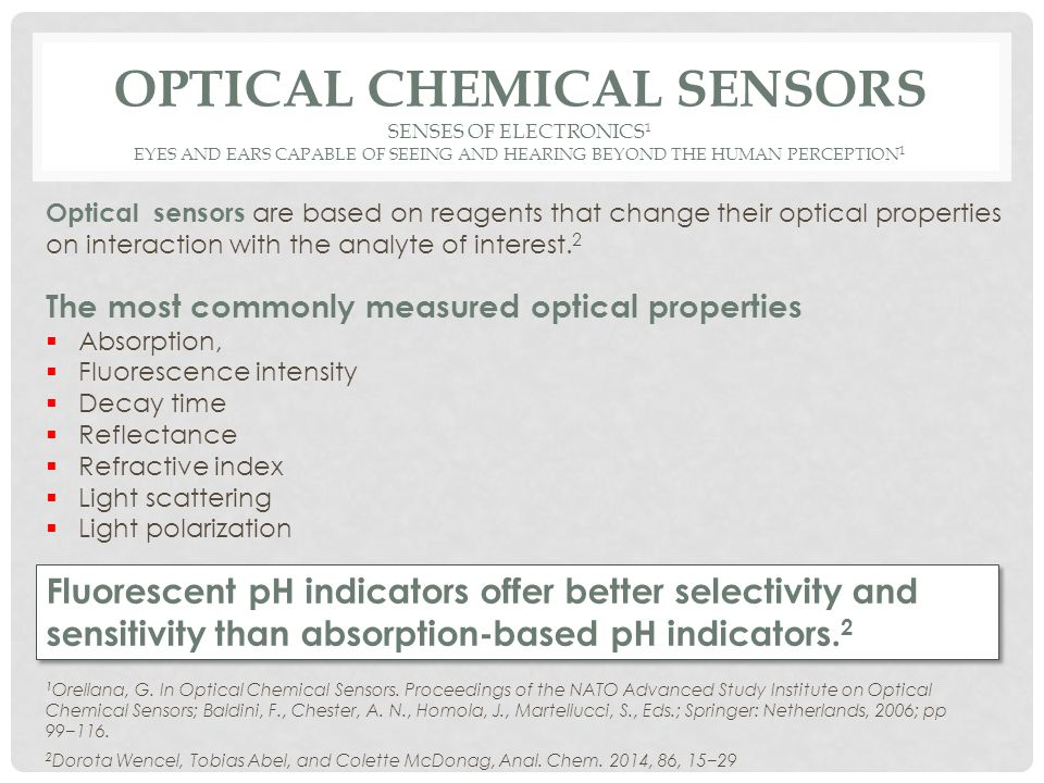 OPTICAL CHEMICAL SENSORS SENSES OF ELECTRONICS 1 EYES AND EARS CAPABLE OF SEEING AND HEARING BEYOND THE HUMAN PERCEPTION 1 1 Orellana, G.