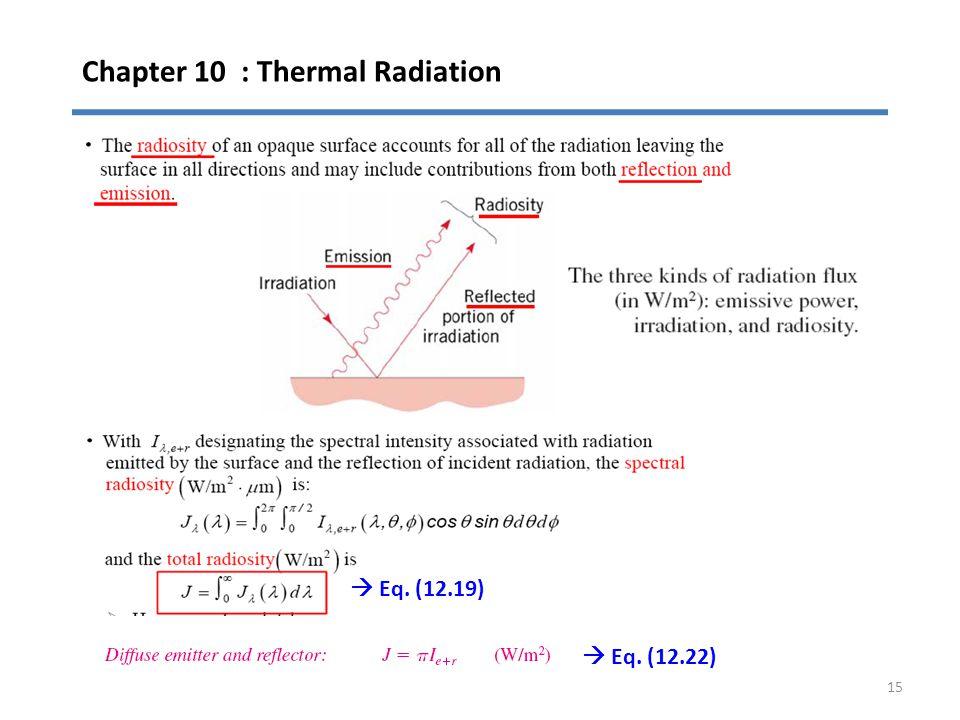 Chapter 10 : Thermal Radiation 15  Eq. (12.19)  Eq. (12.22)