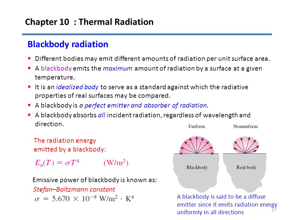 Chapter 10 : Thermal Radiation 17 Blackbody radiation  Different bodies may emit different amounts of radiation per unit surface area.  A blackbody