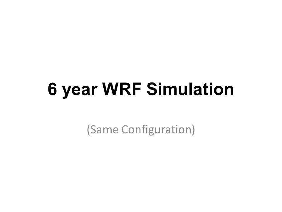 6 year WRF Simulation (Same Configuration)