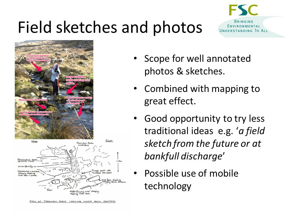 Field sketches and photos Scope for well annotated photos & sketches.